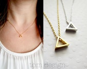 CLEARANCE Silver or Gold Triangle Necklace - Geometric Necklace Shape Necklace Triangle Custom Personalized Gift Wedding Bridesmaid Gift