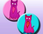 Valentine Cat Heart Collage Sheet Colorful 1 Inch Round Circle Images You Stole My INSTANT DOWNLOAD