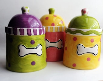 Bone Dog Treat Jar you choose your colors small so adorable
