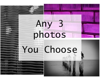 You Choose any set of 3 Photograph Gift Set Home Decor Color Black and White