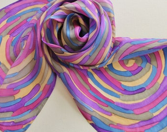Hand Painted Silk Scarf - Handpainted Scarves Navy Blue Purple Rose Pink Tan Cream Beige Gray Grey Abstract Swirl