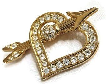 Vintage Swarovski signed Clear Rhinestones Heart and Arrow Brooch