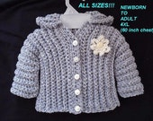 Sweater CROCHET PATTERN, Unisex Comfort Sweater, cardigan or hoodie, Baby, Child, Toddler, Teen, Adult, Plus size, all included !!  #780