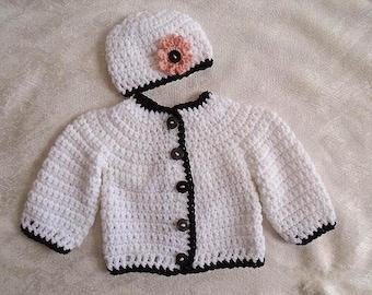CROCHET SWEATER PATTERN, Crochet for kids, Cardigan & Hat set, Newborn to 4 yrs, Unisex, Boys Girls, Children's Clothing, child #801