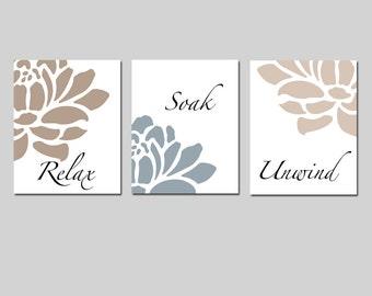 Floral Bathroom Art - Relax, Soak, Unwind - Flowers Petals Bathtub Spa - Set of Three 11x14 Prints - CHOOSE YOUR COLORS