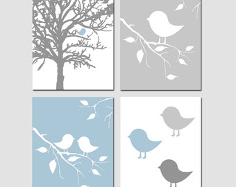 Bird Nursery Decor Baby Bird Nursery Art Baby Birds Wall Art - Baby Boy Nursery Set of 4 Prints - Choose Your Size and Colors