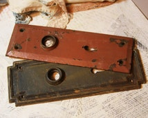 Distressed Hardware ESCUTCHEON Plates for Art work or display Grungy Metal