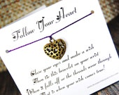 Follow Your Heart - Wish Bracelet - (Large Antique Gold Heart) - Shown In The Color VINEYARD  - Over 100 Different Colors Are Also Available