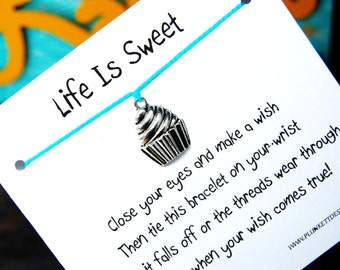 Life Is Sweet - Wish Bracelet With Big Silver Cupcake Charm - Shown In The Color TURQUOISE - Over 100 Different Colors Are Also Available