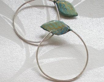 Green Washi paper Fine Silver hoop earrings