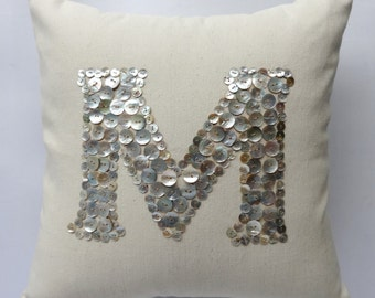 Pearl Button monogrammed cream  pillow -18 inches -choose your own colors - Custom Made