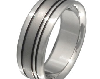 Black Titanium Wedding Band - Black Ring - bk15