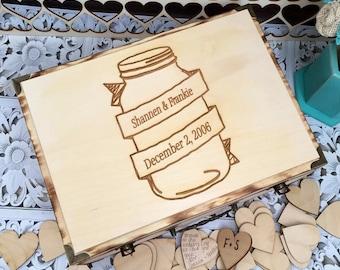 Mason jar wedding , wedding guest book , rustic wedding guest book alternative , mason jar box , guest book alternative , wedding box