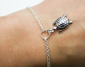 Adjustable Turtle Bracelet in Sterling Silver - Double Chain Turtle Bracelet