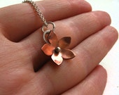 Reserved for cathymorency - aven copper flower pendant with sterling silver chain
