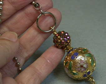 Vintage Chinese LARGE Gold Cloisonne Bead Fan Light Pull, Purple Pink Crystal Bead