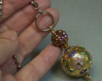 Vintage Chinese 1970s Gold Raised Cloisonne Bead Fan Pull, Purple Pink Crystal Bead