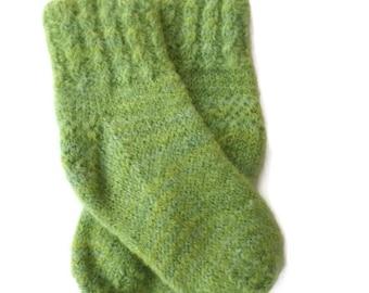 Socks - Hand Knit Lime Green Baby Socks