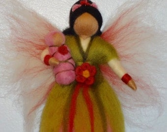 Pink Flower Fairy, Rose Fairy, Summer or Spring Fairy, Waldorf doll, Angel, Blessing, Magic Wool, needle felted