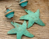 STARFISH - Handmade Lampwork Bicone Beads, Handmade Patinated Copper starfish, Sterling Hooks, Beach Jewelry
