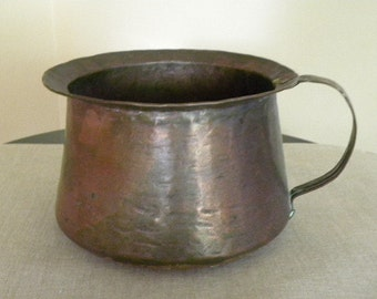 Antique Vintage Hammered Copper Pot Collectible