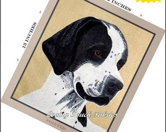 "Cyrus Clark ""Pointer"" Dog Canine Fabric Panel 11 1/2"" x 13"""