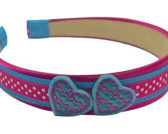 Girls Simple Hearts Ribbon Wrapped Satin Headband