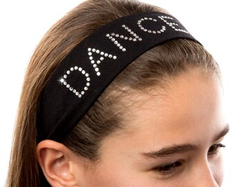 DANCE Rhinestone Studded Cotton Stretch Headband