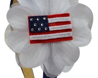 4th of July American Flag Girls Flower Headband