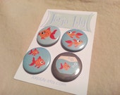 Set of 4 pinback buttons, Goldfish