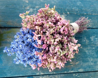 Dried flower and Herb bridal bouquet Featuring dried Lavender and Santa Cruz Oregano.