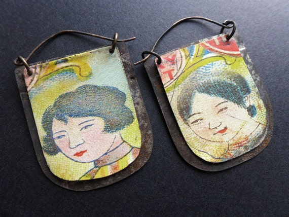 Stories. Rustic salvaged tin earrings.