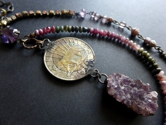 A Tiger in Me. Rustic assemblage necklace with watermelon tourmaline, druzy amethyst, coin.