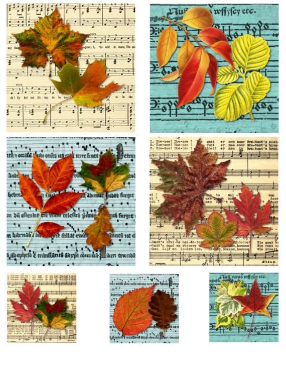 """spring and fall leaves sheet music digital collage sheet printable 3.8"""" x 3.8 inch squares images graphics autumn leaf"""