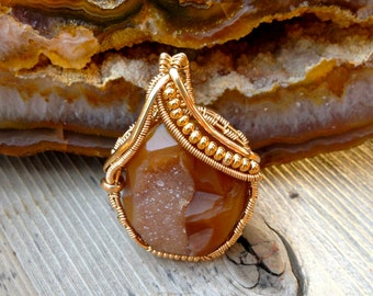 Druzy Agate Wire Wrap Pendant with 20k Gold