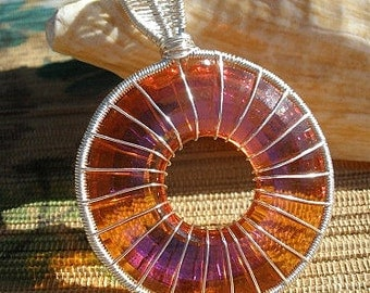 Swarovski Astral pink crystal donut wire wrapped pendant large bail