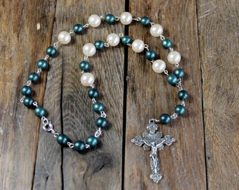 Rosary Chain Medieval Style Y Necklace - Vintage Glass Pearls and Green Glass Beads - Cos Play - SCA