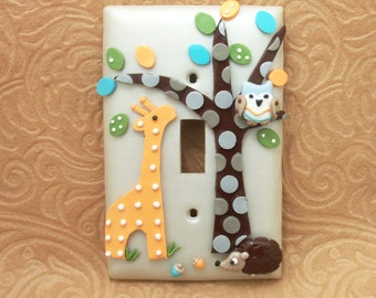 Giraffe, Hedgehog, Owl Childrens Light Switich Cover or Outlet Cover - Woodland Nursery - Polymer Clay - Toggle Cover or Rocker Cover