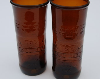 Set of two IBC Root Beer Bottle Glasses