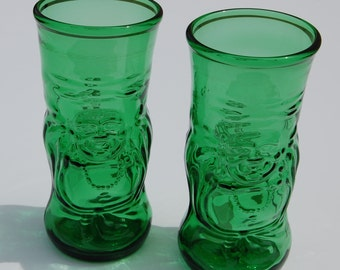 Set of two Lucky Buddha Beer Bottle Glasses