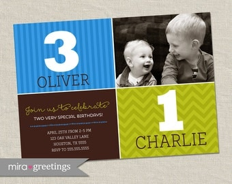 Brothers Joint Birthday Party Invitation - Printable Digital File