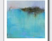 "Contemporary Minimalist Landscape Print, 14""H x 11""W Large Print, Pond, Water, Aqua, Aquamarine, Reflection, New England, Coastal Wall Decor"
