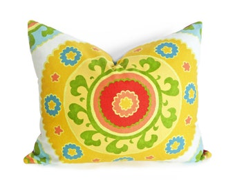 Yellow Suzani Pillows, Boho Chic Cushions, Large Medallion, Oblong Throw Pillow Covers,  Sunshine Yellow  Red Green Blue,  16x20, 40x50 cm