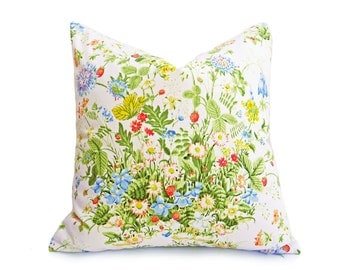 Floral Shabby Chic Pillow Covers, Romantic Country Pillows, Eco Friendly, Repurposed Pillow, Wild Flower Bouquet, 12x20 Lumbar, 18x18, 20x20