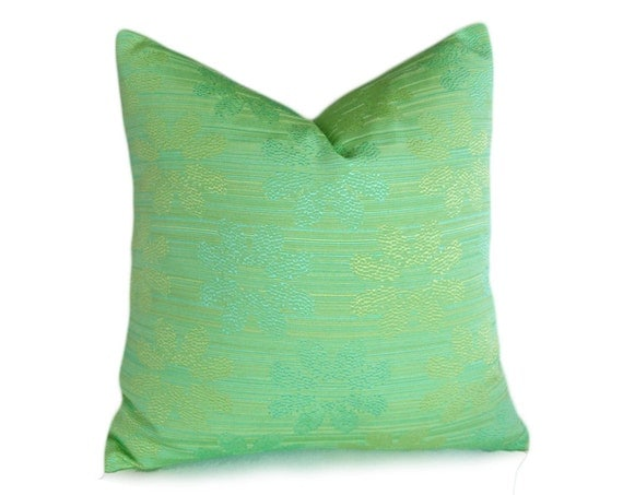 Green Accent Pillows Solid Green Decorative by PillowThrowDecor