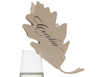 Oak Leaf Place Cards - autumn, fall, leaves, tree, glass