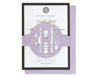 Circle Monogram Wedding Invitations - Initials, letters, bride, groom, last name, cutout