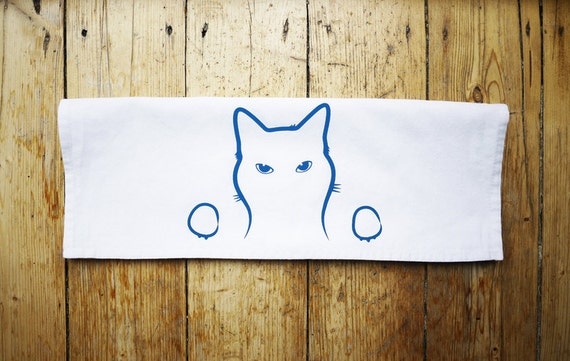 Cat Tea Towel, Screen Printed Cotton Kitchen Towel