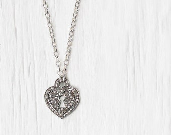 Diamond Heart Charm Necklace, Sterling Silver Key Lock Pendant, Love Anniversary Engagement Gift April Birthstone Wedding, Everyday Necklace