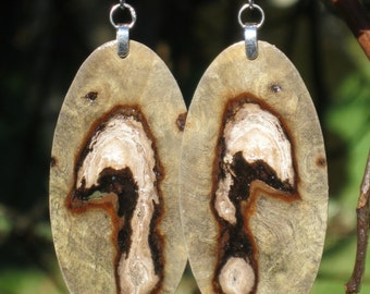 Plain Amazing Earrings Made From Reclaimed Buckeye Burl Wood And Resin